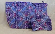 VERA BRADLEY LILAC TAPESTRY MILLER TRAVEL BAG & LARGE ZIP COSMETIC SET NWT ZIP
