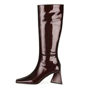Womens Faux Leather Cowboy Knee High Biker Riding Block Heel Boots Shoes 34-45 L