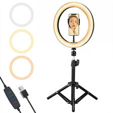 """10"""" LED Ring Light Dimmable 19.7"""" Tripod Stand Live Video Selfie Camera Makeup"""