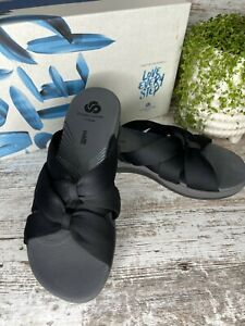 New Clarks Women's Cloudsteppers Arla Dristi Jersey Black Slide Sandals Size 8 M
