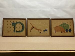 3 - Vintage Mid Century Modern Silkscreened Burlap Wall Art Hangings