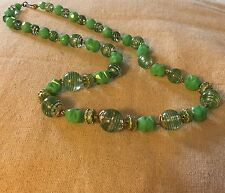 Vintage Retro 1980s Art Deco Revival Green Clear Plastic Beaded Necklace 20in