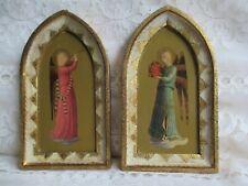 2 Vintage Florentine Angel Musicians Wood Toleware Italy made for Otzens Chicago