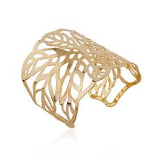 Flower Wide Bracelet Wristband Gift Retro Women Gold Punk Bangle Hollow