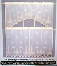 Coastal Lace Lighthouses Sailboats Nautical Ivory Curtains 36L Tier and Swag Set