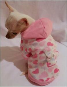 Dog Hoodie/Dog clothes/chihuahua/Hearts Galore Minky Hoodie XS,S,M,L FREE SHIP