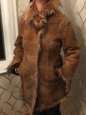 Manzari Women's Light Brown Shearling Fur Coat Size M
