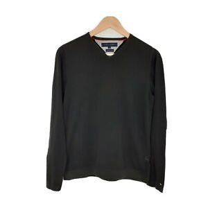 Tommy Hilfiger Mens Size Small Black Pullover Thin Knitted Jumper Sweater