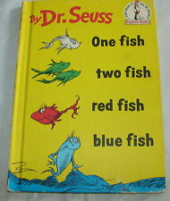 VINTAGE -DR. SEUSS-- ONE FISH TWO --C 1960 HC BOOK CLUB EDITION BEGINNER BOOK