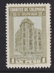 Colombia Sc 433 MNH. 1935 1p drab & blue National Olympics, fresh, well centered