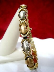 10K MULTI TONE GOLD HEART BRACELET WITH X LINKS 7 INCHES NICE