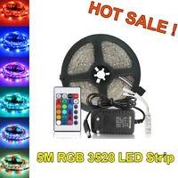 5M 3528 RGB Flexible Led Strip SMD 300 Leds String Light+24Key +DC12V 2A Adapter