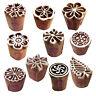 Mehndi Wood Blocks Beautiful Small Floral Shape Printing Stamps (Set of 10)