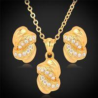 Damen Schmuck-Set mit Strass-Steine Halskette Ohrringe Ohrstecker Gold Neu