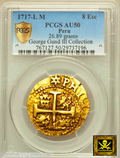PERU 8 ESCUDOS GOLD DOUBLOON COB 1717 NGC 50 FINEST ONLY 1 KNOWN! PHILIP V COIN