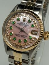 $8000 ROLEX DATEJUST Pink MOP Emerald Diamond 18k Yellow Gold SS Ladies Watch