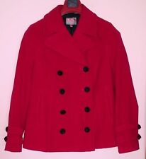 NEXT COTTON FINE VELOUR RASPBERRY RED DOUBLE BREASTED 3/4 JACKET 16
