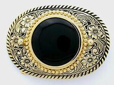 Gold Color Oval Western Natural Black Onyx Cabochon Cab Gem Belt Buckle pbb59