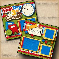 3RD GRADE ~ SCHOOL ~ 2 premade scrapbook pages layout printed boy girl DIGISCRAP