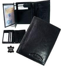 Herren Portemonnaie schwarz echt Leder Geldbörse Geldbeutel BRIEFTASCHE Po631