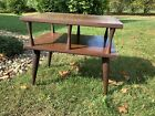 Vintage Mid Century Danish Modern 2 Tier Wood Atomic End Table Side Nightstand 2