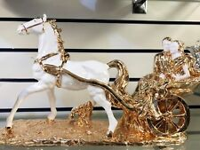 New Italian Horse Carriage White Gold Wedding Couple Present Romany Gypsy Gift