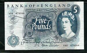 Bank of England (P375b) 5 Pounds 1966 Fforde aVF/VF