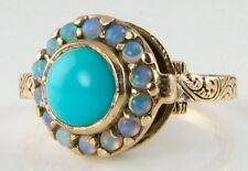 HAND MDAE 9K VICT INSP TURQUOISE & BLUE OPAL LOCKET RING
