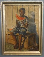 Signed A. Stamatiades 1954 Black Americana Oil Painting Boy Eating Watermelon