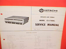 1971 HITACHI 8-TRACK STEREO TAPE PLAYER FACTORY SERVICE MANUAL MODEL CS-1700IC