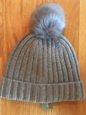 e445c3ded82d9 NWT J Crew Women s Ribbed Beanie Hat with Faux-Fur Pom-Pom Graphite