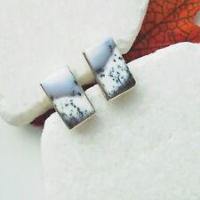 Merlinit Dendriten Achat grau weiß eckig Ohrringe Ohrstecker 925 Sterling Silber