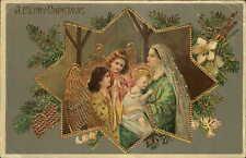 Christmas - Angels Mary & Jesus - Beautiful Gold Inlay Finish c1910 Postcard