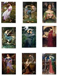 "J W Waterhouse Reproduction Cotton Fabric Quilt Blocks (9) Images @ 2X3"" Each"