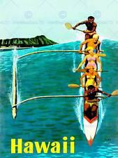 Viaggi TURISMO Hawaii stato Malia BARCA CANOA Ocean Wave ISLAND USA POSTER cc4407
