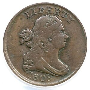 1808 C-3 ANACS VF 30 Details Draped Bust Half Cent Coin 1/2c