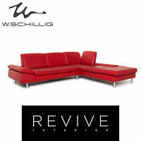 Willi Schillig Loop Leder Ecksofa Rot Funktion Couch #13295