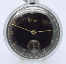 VINTAGE Solex Suizo 44mm Open Face Pocket Watch GREAT Black Gilt Dial