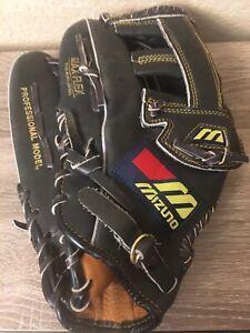 Mizuno MZ 1292 Black Leather Professional Model Baseball Mitt Left Handed Nice!
