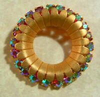 Vintage COROCRAFT Gold Wreath Circle Pin Red AB Rhinestones - Adolf Katz