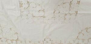 Alte Tischdecke Tafeldecke Richelieu Stickerei Baumwolle Vintage