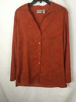 Chico's Corduroy and Lace Long Sleeve Top Size 1