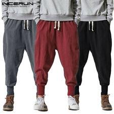 Mens Harem Japanese Style Linen Baggy Pants Dance Hip Hop Loose Trousers Bottoms