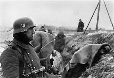 WWII B&W Photo German Soldiers in Trench in Winter  WW2 / 2150