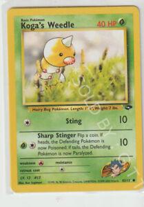 POKEMON GYM CHALLENGE KOGA'S WEEDLE CARD 82/132   - FREE P&P
