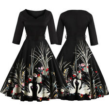 Black Women's Swan Vintage 1950s Rockabilly Pinup Evening Party Prom Swing Dress