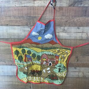 """Farm Apron Woman's Kids 27"""" Long Chickens Cook Chef"""