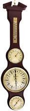 Reloj de pared Perfecto, Barómetro, Termómetro, Madera, 6in, números romanos