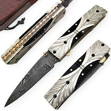 Custom Handmade Damascus Horn Handle With Silver Brass Folding Pocket Knife