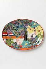 ANTHROPOLOGIE Serving Platter Large Oval Floral Multi-Color Stonewear